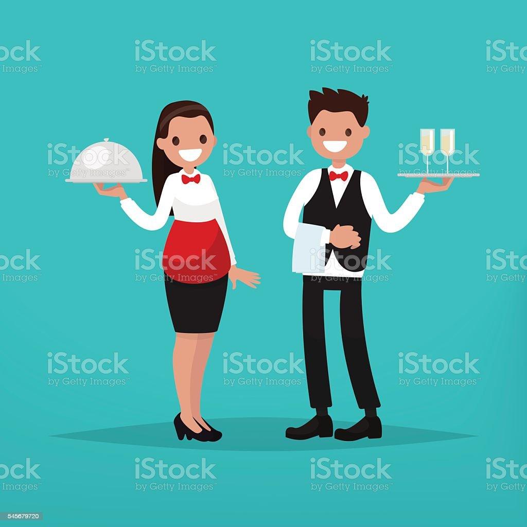 Waiter and waitress restaurant. Vector illustration vector art illustration