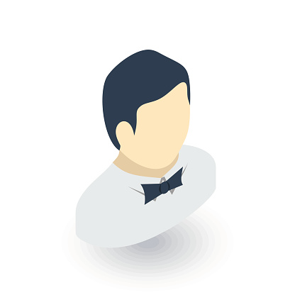 waiter avatar, man whith bow tie isometric flat icon. 3d vector