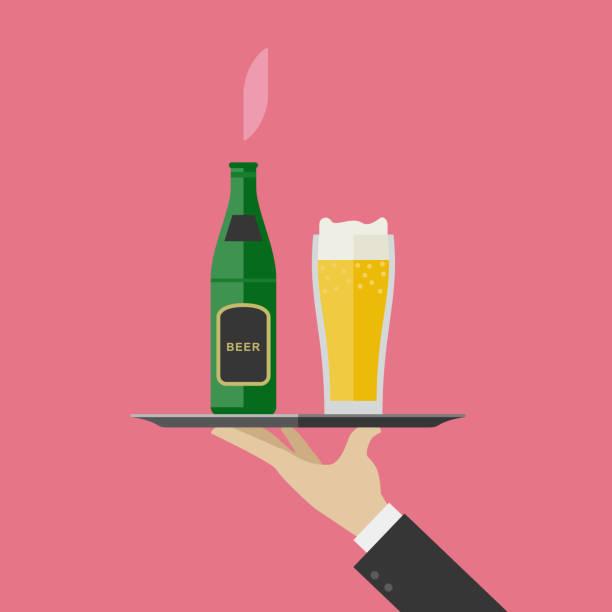 stockillustraties, clipart, cartoons en iconen met ober brengt bier - voedsel en drank serveren