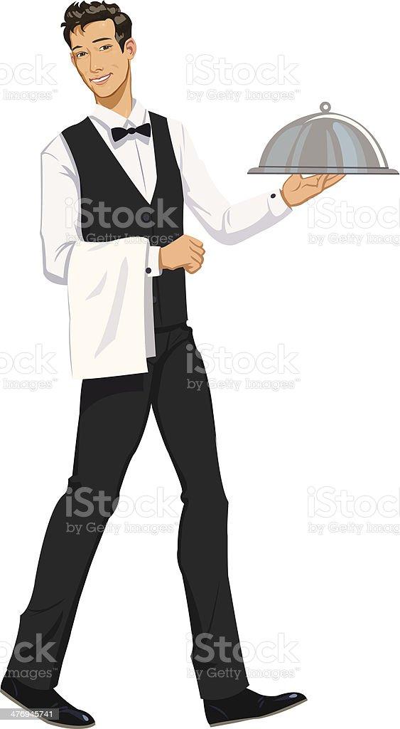 Waiter Carrying Domed Platter - Illustration vector art illustration