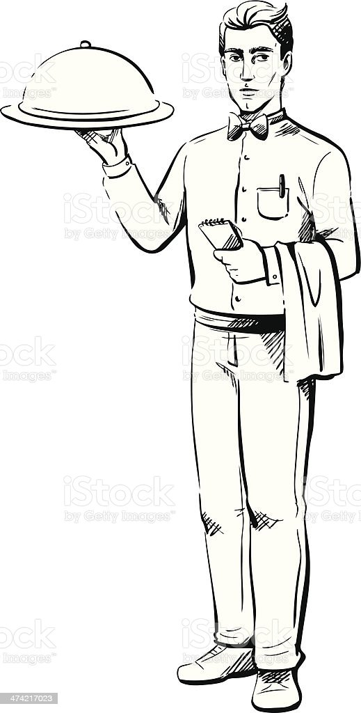 Waiter delivering a meal to the table vector art illustration