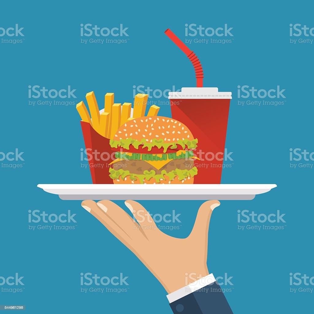 Waiter delivers food vector art illustration