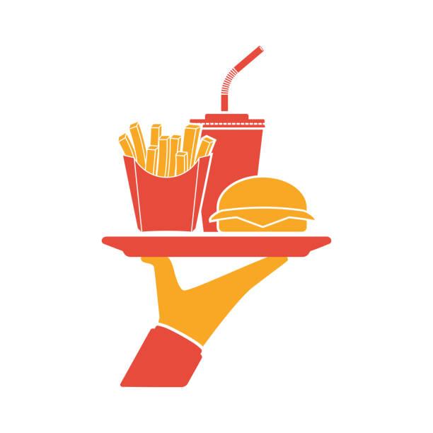 kellner liefert die lebensmittel-silhouette. - hamburger schnellgericht stock-grafiken, -clipart, -cartoons und -symbole