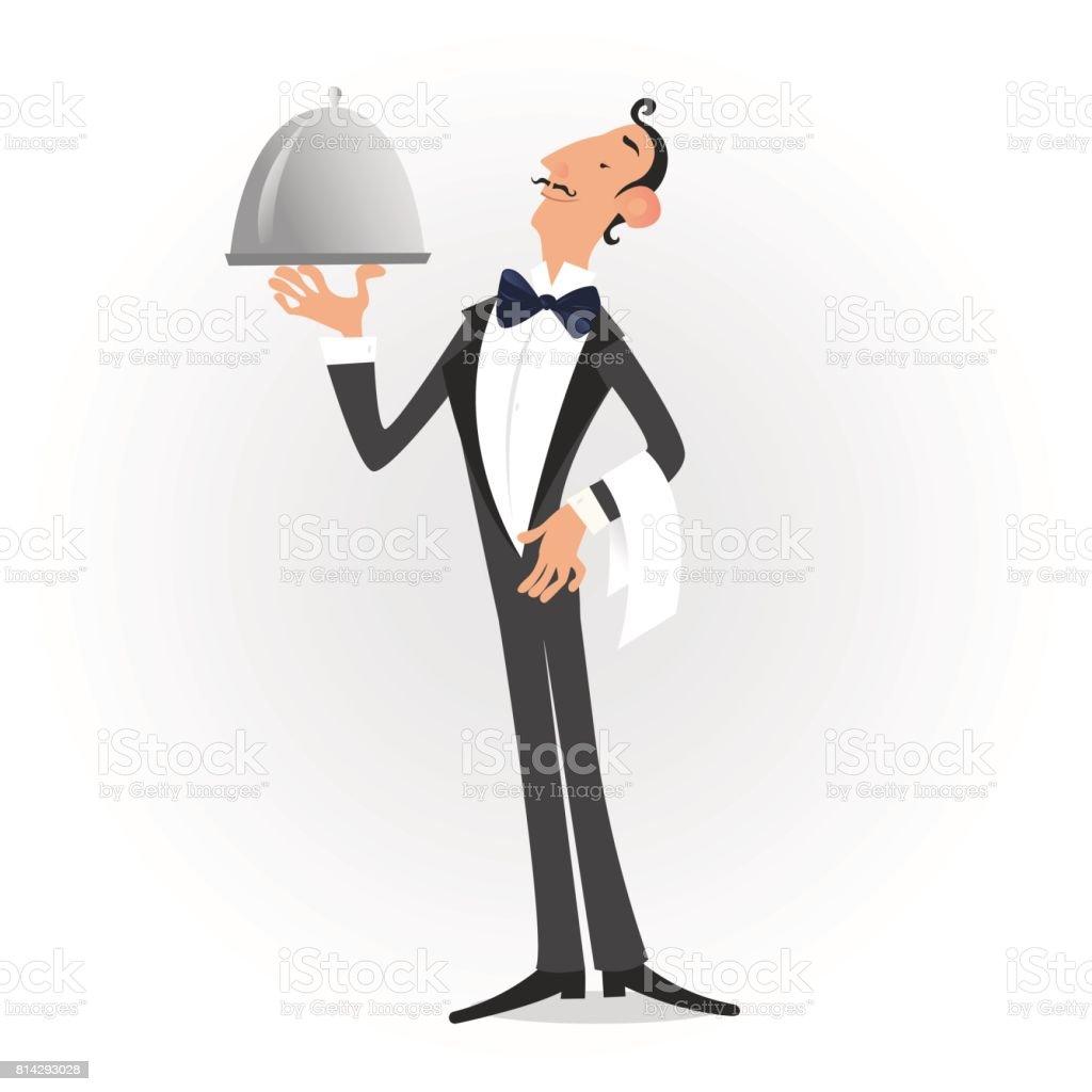 Waiter dressed in tuxedo serving a dish isolated over white. Vector illustrationWaiter dressed in tuxedo serving a dish isolated over white. Vector illustration vector art illustration