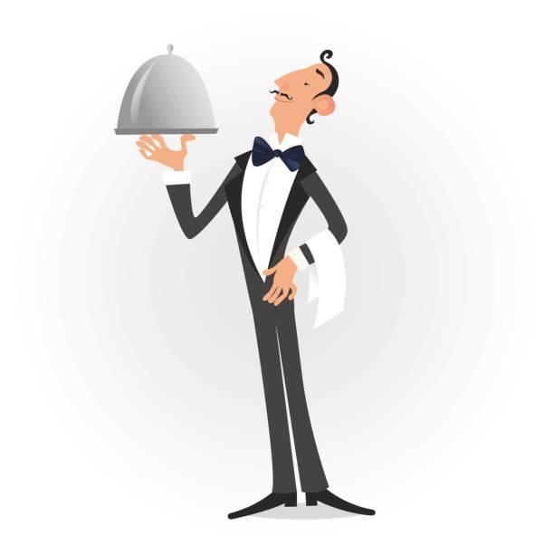 stockillustraties, clipart, cartoons en iconen met ober gekleed in smoking serveren een schotel geïsoleerd over wit. vector illustrationwaiter gekleed in smoking serveren een schotel geïsoleerd over wit. vectorillustratie - voedsel en drank serveren