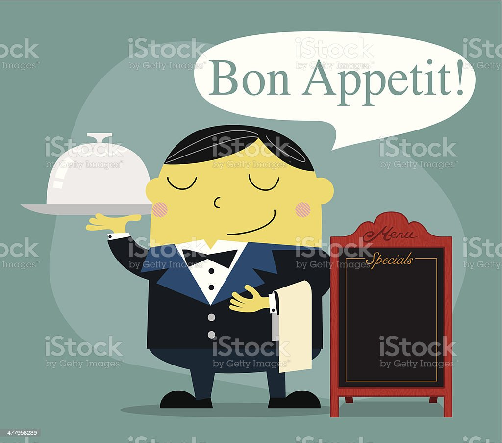 Waiter for fine dining - Illustration vector art illustration