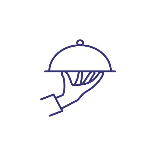 stockillustraties, clipart, cartoons en iconen met ober hand met schotel lijn pictogram - schotel