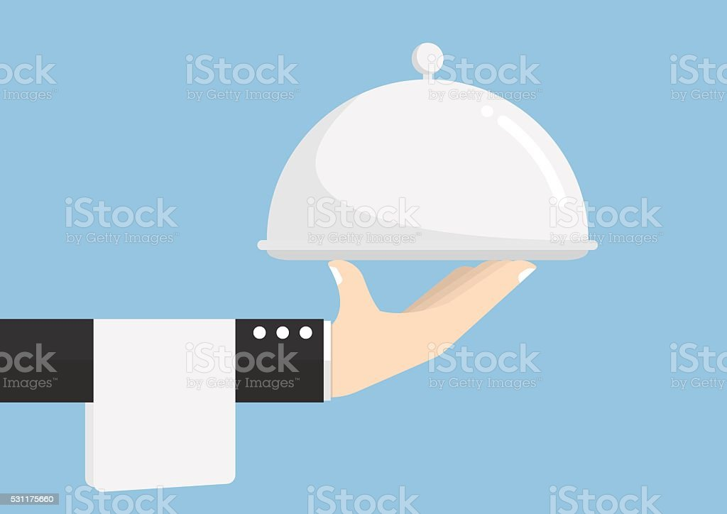 Waiter hand holding silver tray vector art illustration