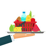Waiter hand with tray of grocery food vector illustration, flat cartoon person carrying plate with meal isolated
