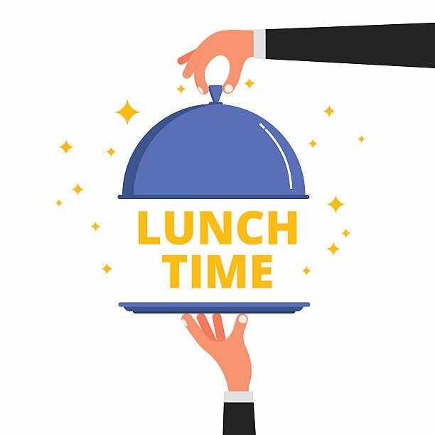 stockillustraties, clipart, cartoons en iconen met waiter hands opening cloche lid cover revealing lunch time text - voedsel en drank serveren