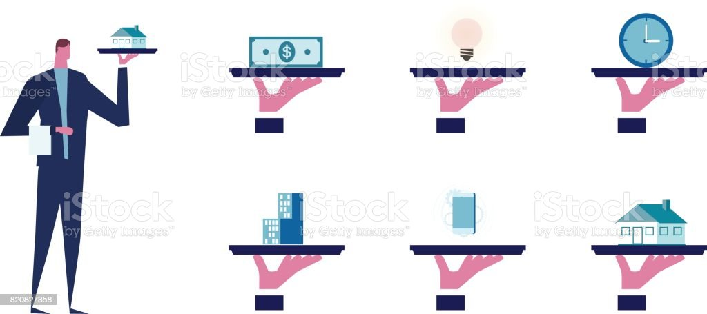 waiter holding a house on tray.Offer of house concept (real estate). condominium, lamp, us dollar, clock, smartphones. vector art illustration