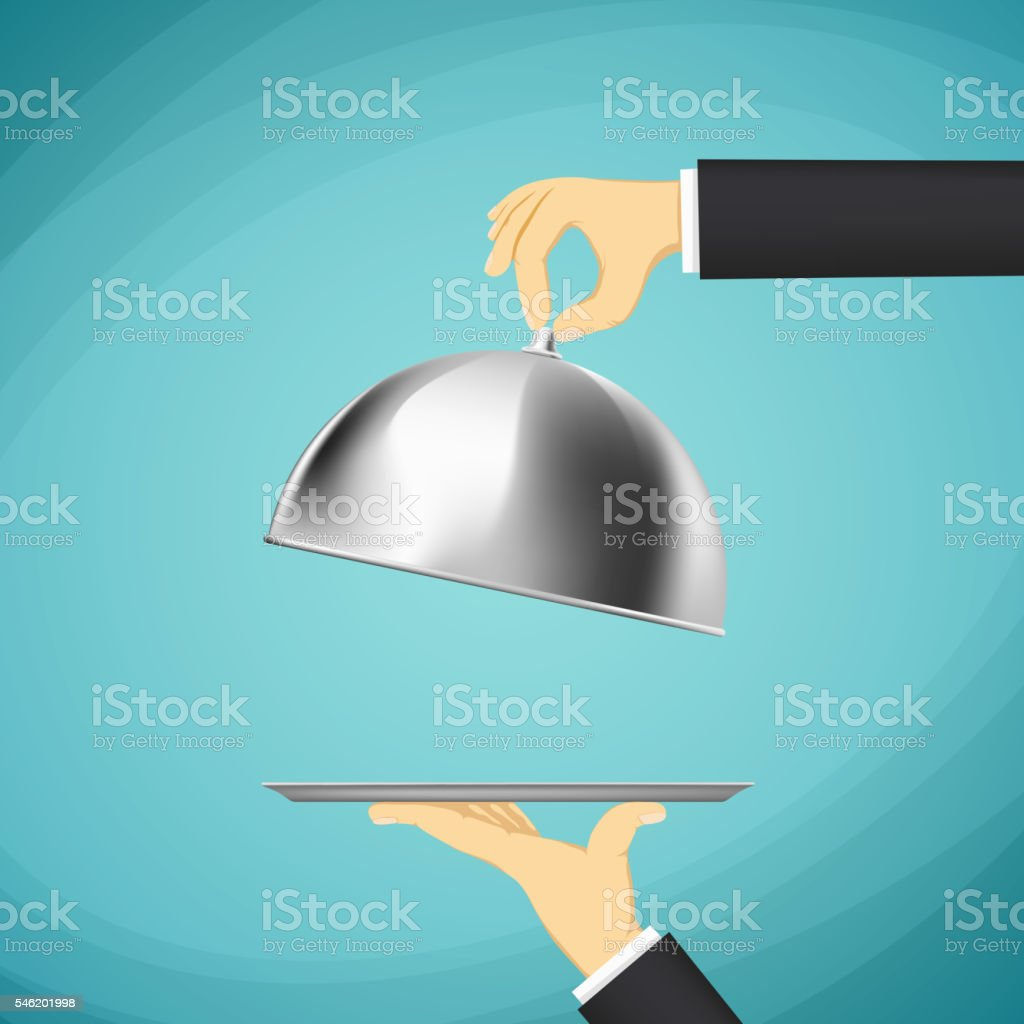 Waiter holding a tray with a dome in his hands. vector art illustration