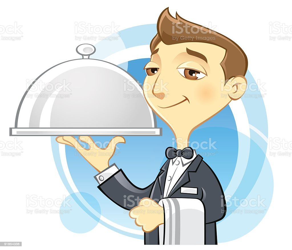 Waiter Holding Serving Tray royalty-free stock vector art
