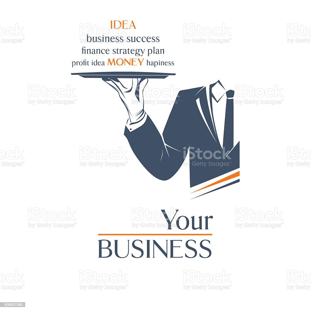 Waiter holds a tray with sign. Your business idea sign. vector art illustration