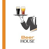 Waiter holds a tray with two pints of cold beer illustration isolated. Classic banner for restaurants, cafes or any bar and pub. Beer house sign. Perfect design for pub menu. Brewery poster.