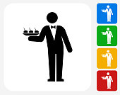 Waiter Icon. This 100% royalty free vector illustration features the main icon pictured in black inside a white square. The alternative color options in blue, green, yellow and red are on the right of the icon and are arranged in a vertical column.