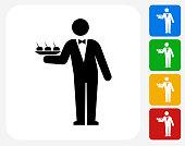 Waiter Icon Flat Graphic Design