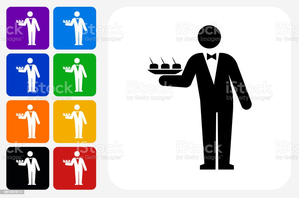 Waiter Icon Square Button Set vector art illustration