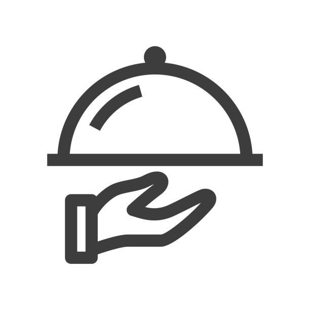 Waiter Icon Platter - Waiter Icon serving dish stock illustrations