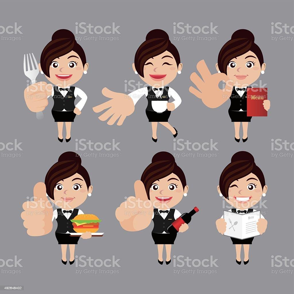 Cameriere in diverse pose - arte vettoriale royalty-free di Adulto