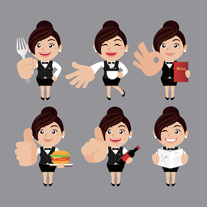 Cameriere In Diverse Pose - Immagini vettoriali stock e altre immagini di Adulto