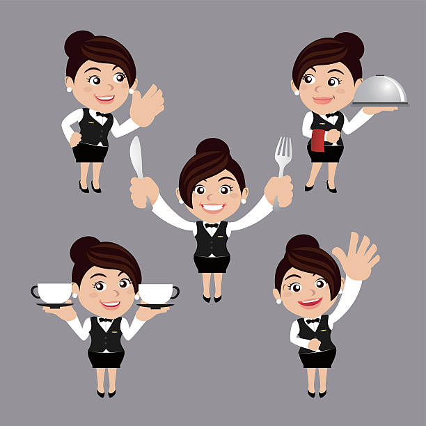 illustrazioni stock, clip art, cartoni animati e icone di tendenza di cameriere in diverse pose - portrait of waiter and waitress holding a serving