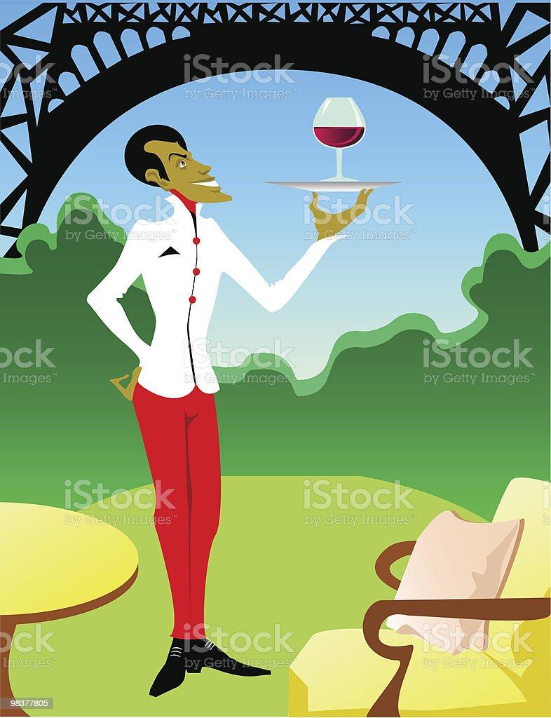 Waiter in Paris... royalty-free waiter in paris stock vector art & more images of adult