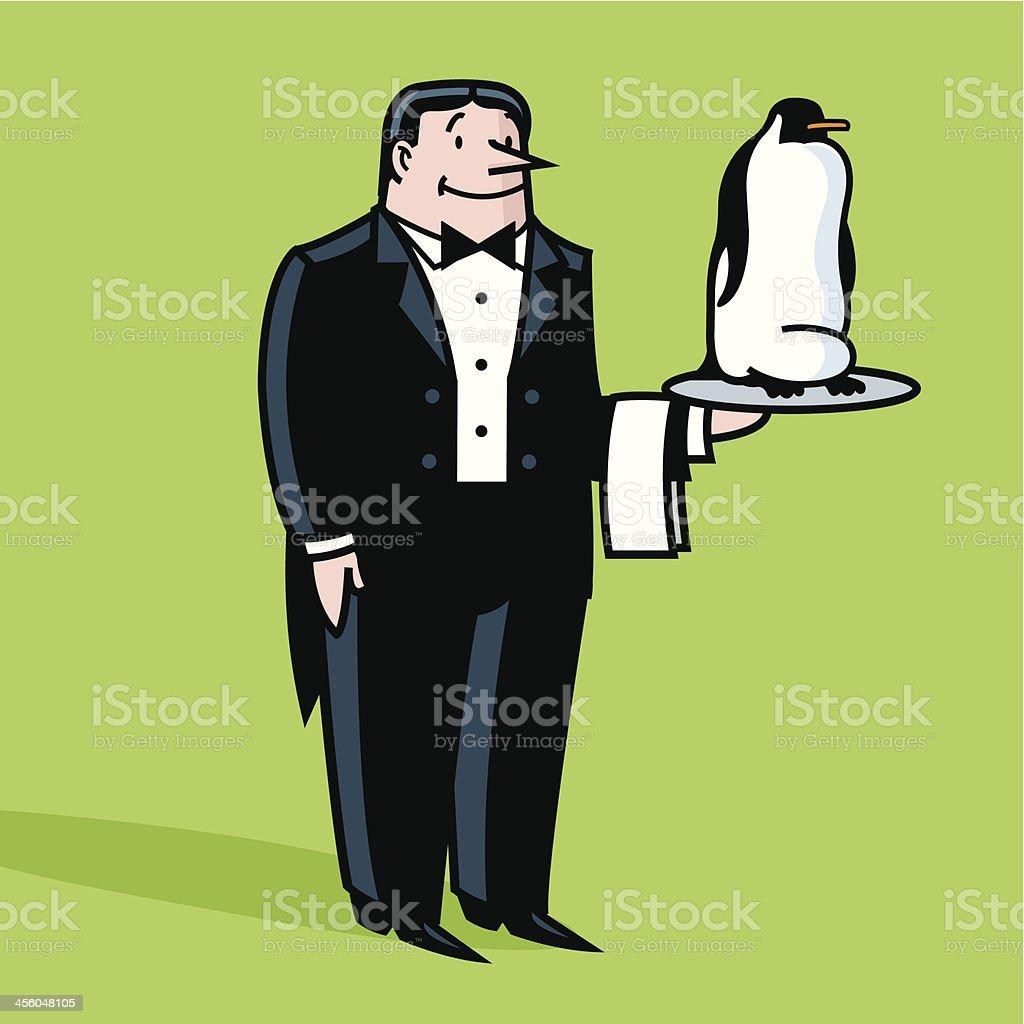 waiter looks like penguin vector art illustration