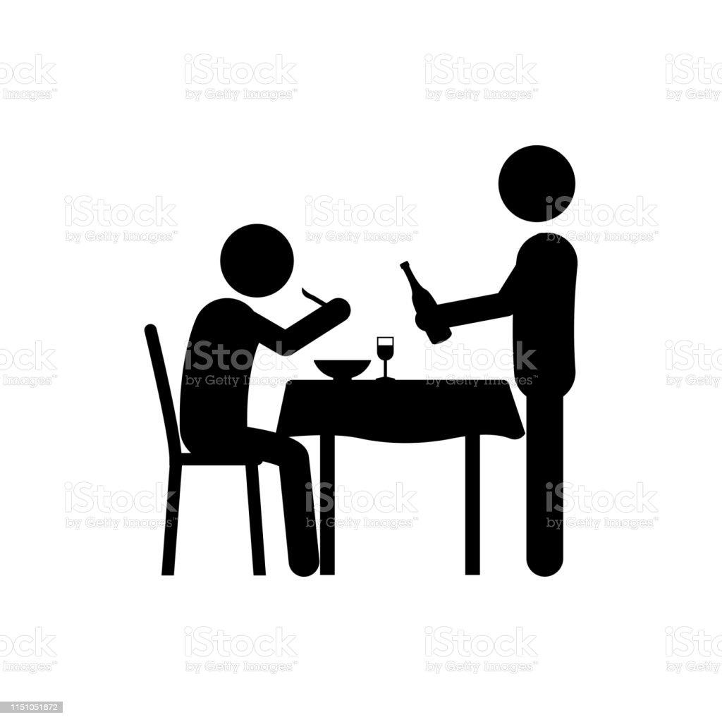 waiter, man, wine in restaurant icon. Element of dinner in a...