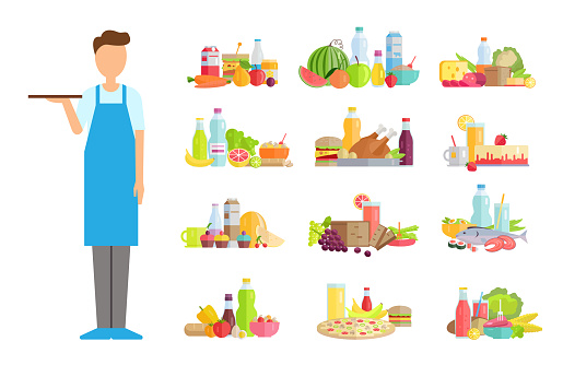 Waiter Servant with Food Options of Shop Store
