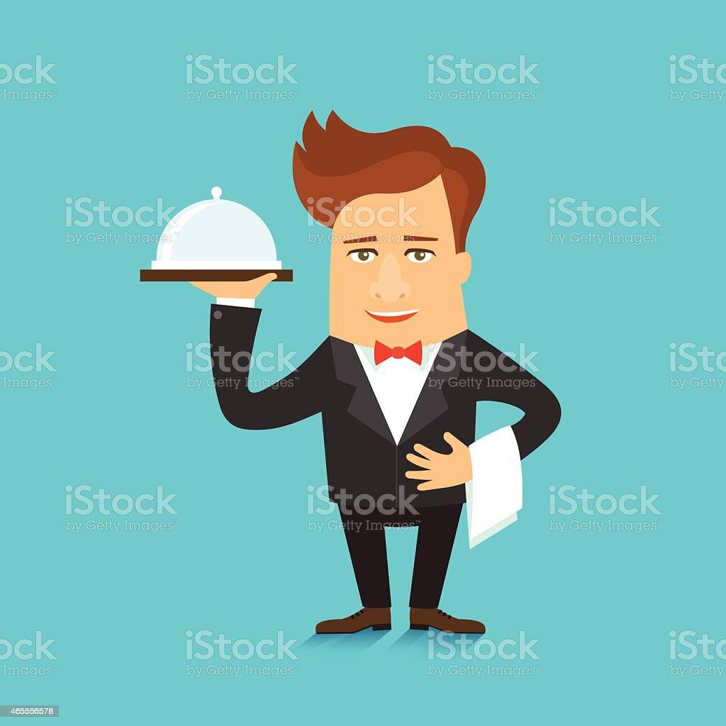 Waiter serving a meal under a silver cloche vector illustration vector art illustration