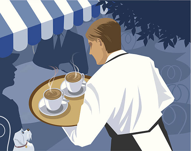 Waiter serving Coffee at a Cafe vector art illustration