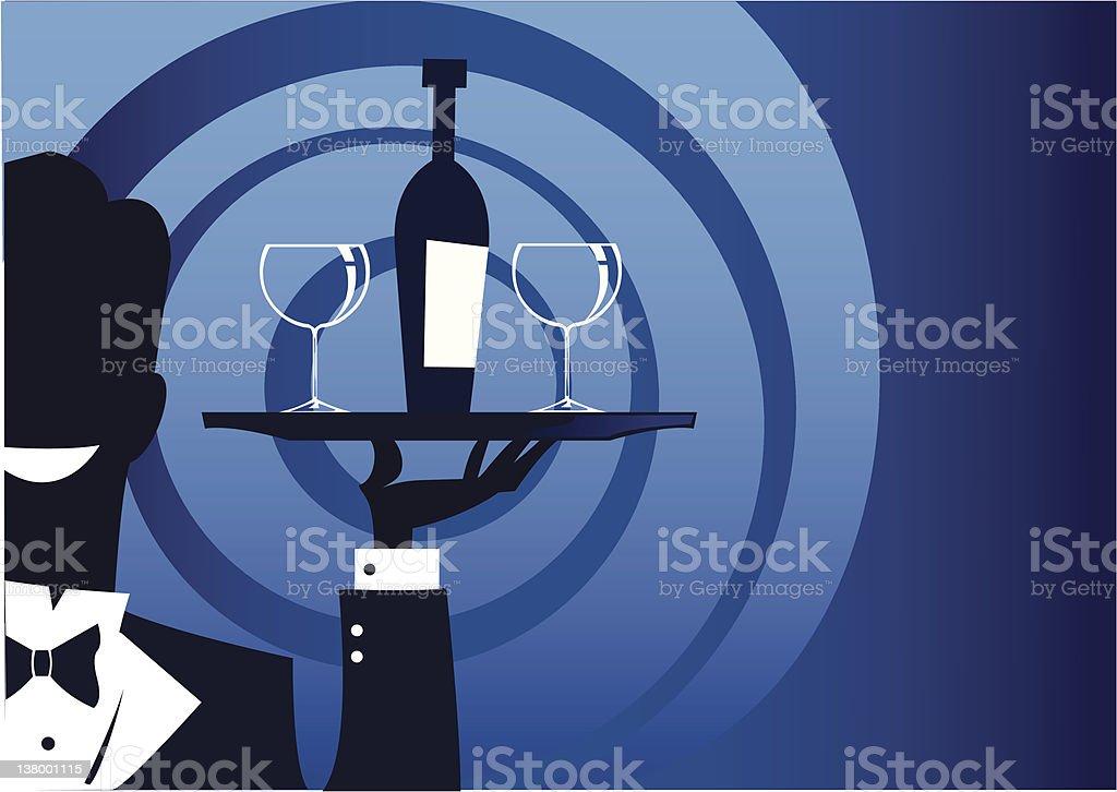 Waiter Silhouette and Wine Bottle vector art illustration