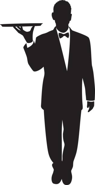 Waiter Silhouette vector art illustration