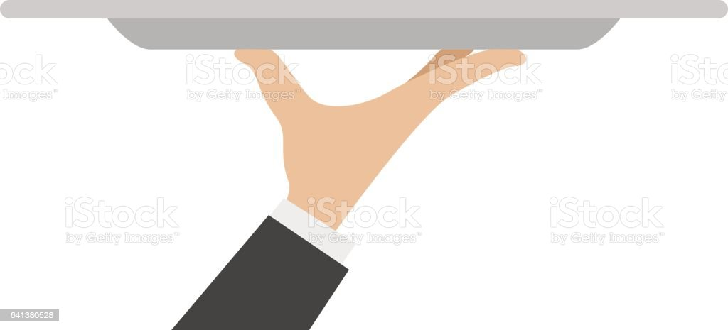 waiter tray with hand vector art illustration