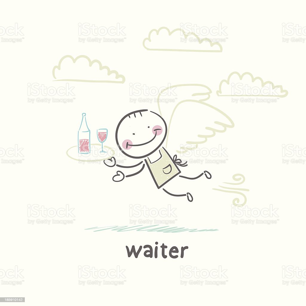 waiter vector art illustration