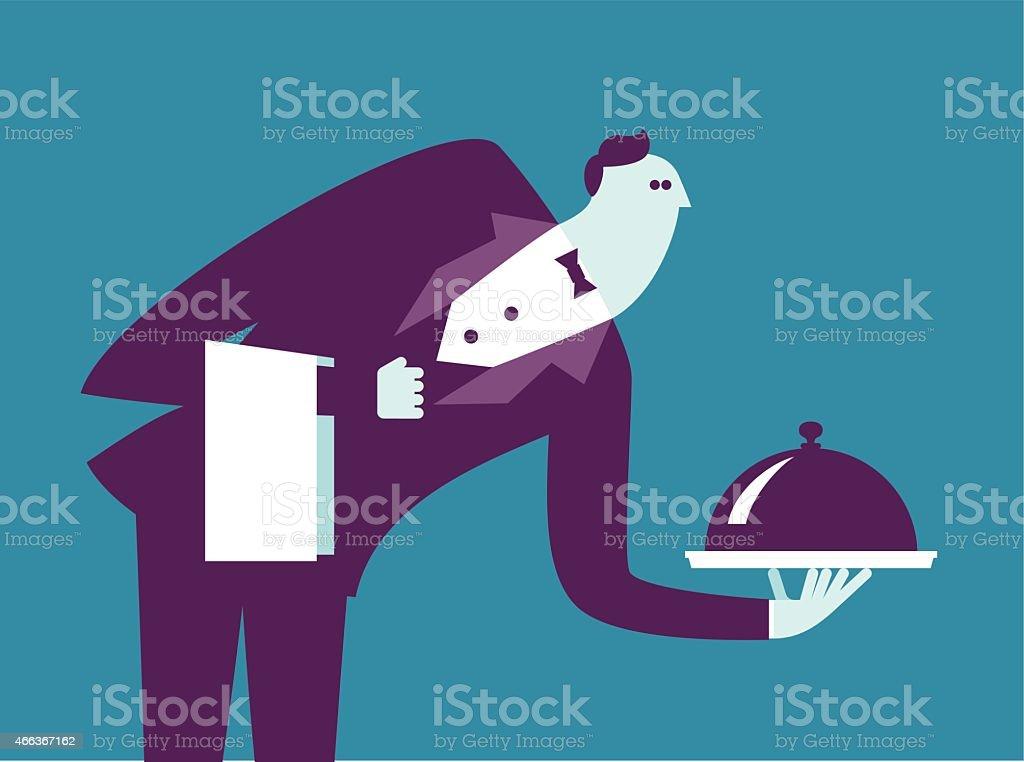 Waiter vector art illustration