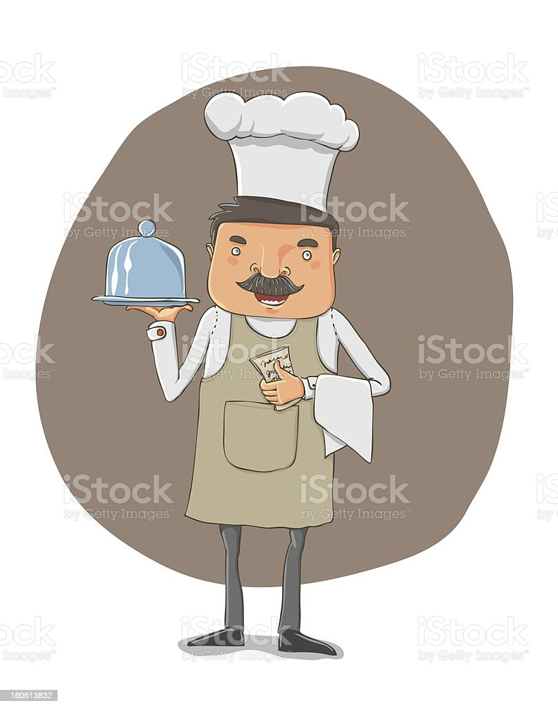 waiter with a tray and notebook royalty-free stock vector art