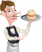 istock Waiter with Cake Pointing 488092968