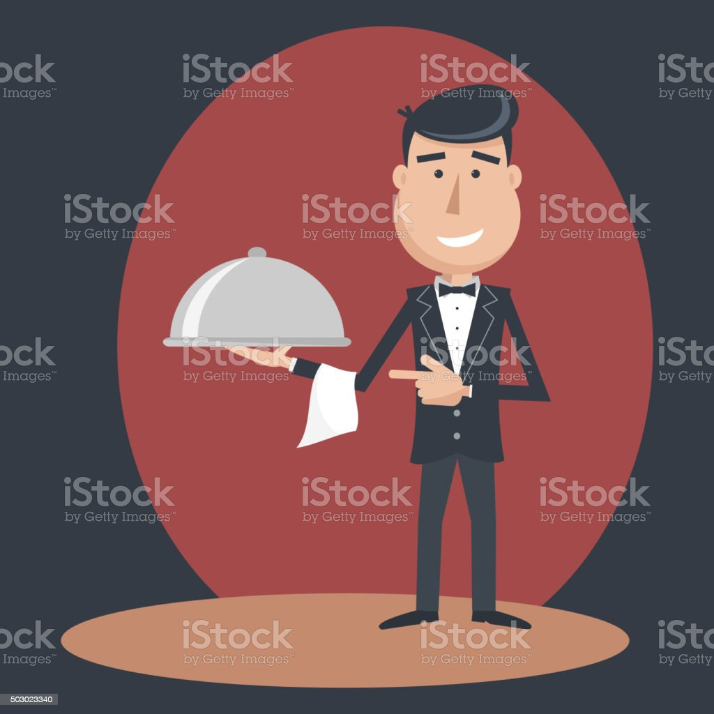 Waiter with dish on outstretched arm. vector art illustration