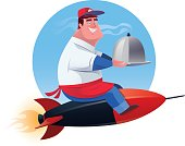 vector illustration of cheerful waiter with domed tray riding rocket
