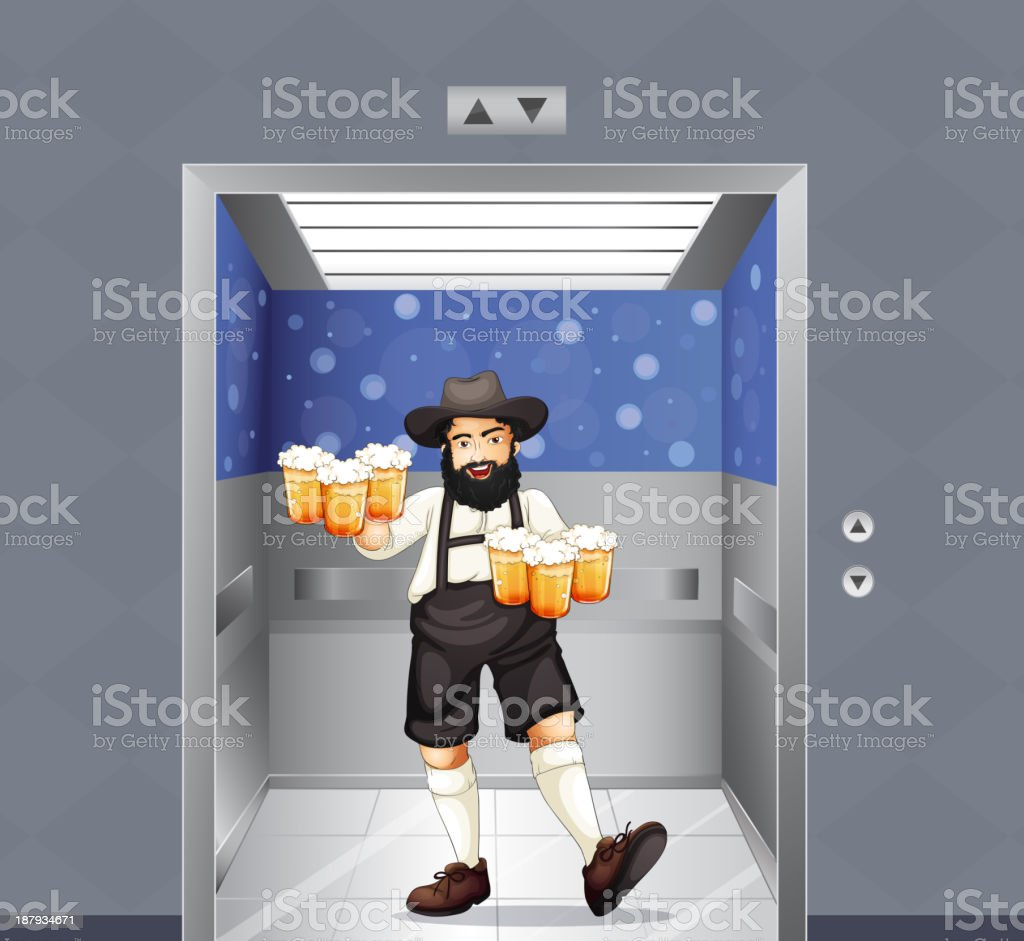 Waiter with mug of beers at the elevator royalty-free waiter with mug of beers at the elevator stock vector art & more images of adult