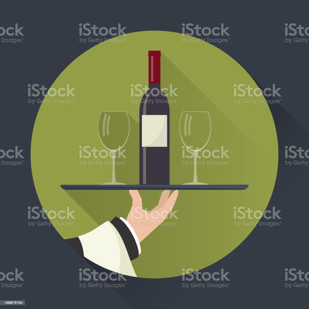 Waiter with wine bottle and  glasses vector art illustration