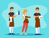 Waiter and waitress are holding trays of food and drinks. One waiter takes the order. Restaurant team. Set of rofessional cafe workers in uniform. Vector illustration with flat cartoon characters.