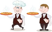Waiters deliver a hot pizza