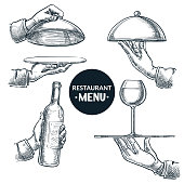 Waiters hands holding open and closed trays. Vector hand drawn sketch illustration, isolated on white background. Wine bottle, glass served on tray. Restaurant menu, catering service design elements