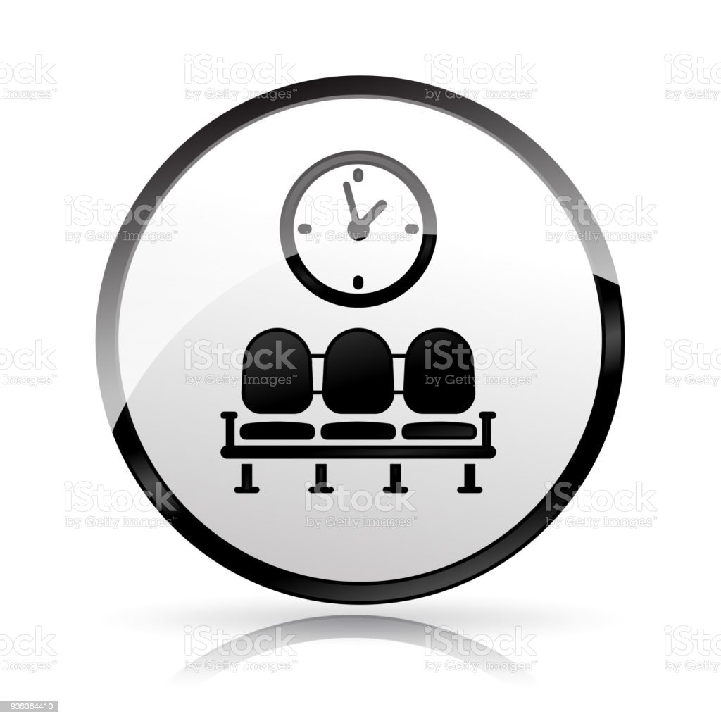 waiting area icon on white background vector art illustration