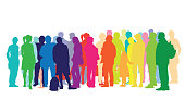 Variety of people in a large group in bright colored silhouettes