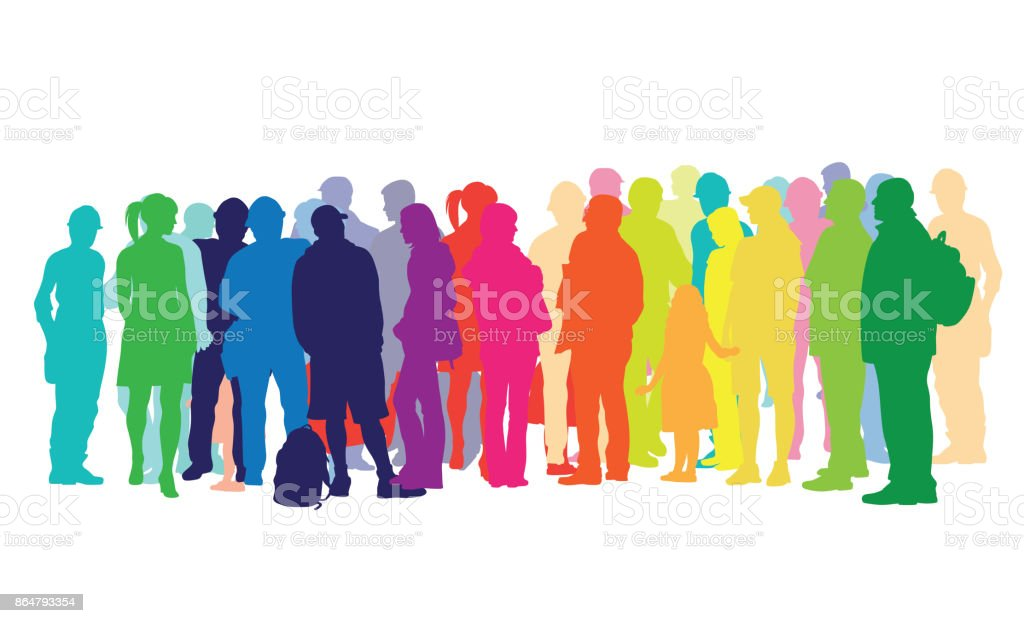 Waiting Around Crowded People vector art illustration