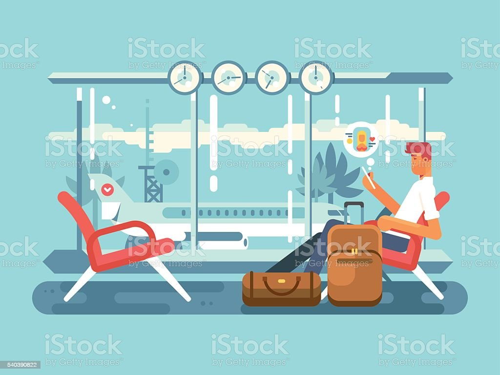 Waiting at airport of departure vector art illustration